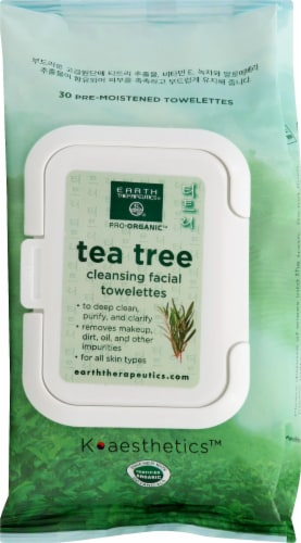 Earth Therapeutics Tea Tree Cleansing Facial Towelettes Perspective: front