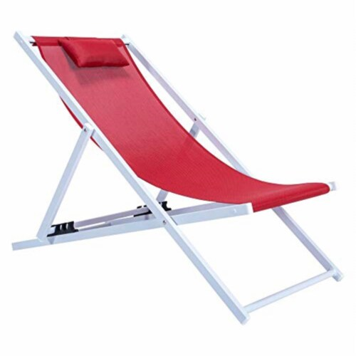 LeisureMod Sunset Outdoor Folding Lounge Beach Chair With Headrest in Red Perspective: front