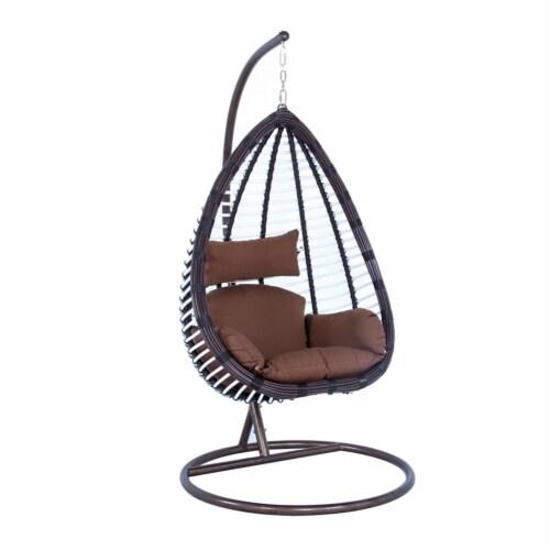 LeisureMod Modern Brown Wicker / Rattan Hanging Egg Swing Chair Indoor/Outdoor Perspective: front