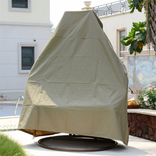 LeisureMod Durable Patio Brown Fabric Hanging Egg Swing Chair Canvas Cover Perspective: front
