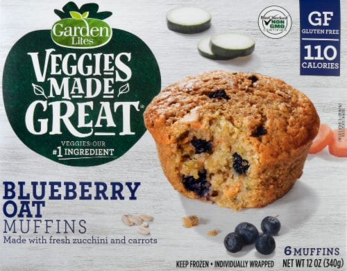 Garden Lites Veggies Made Great Blueberry Oat Muffins 6 Count Perspective: front