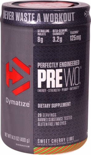 Dymatize  PreW.O.™   Sweet Cherry Lime Perspective: front