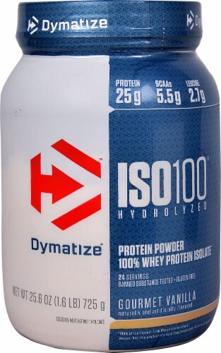 Dymatize  ISO100® Hydrolyzed 100% Whey Protein Isolate   Gourmet Vanilla Perspective: front