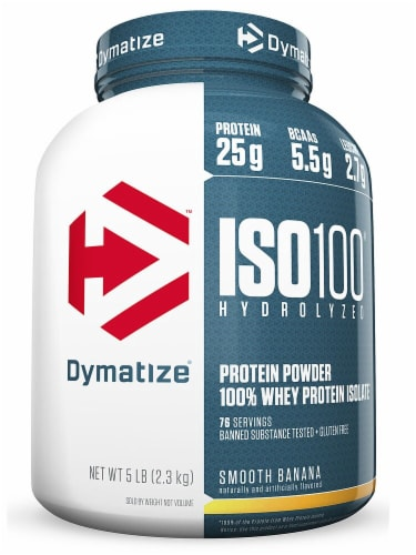 Dymatize  ISO100® Hydrolyzed 100% Whey Protein Isolate   Smooth Banana Perspective: front