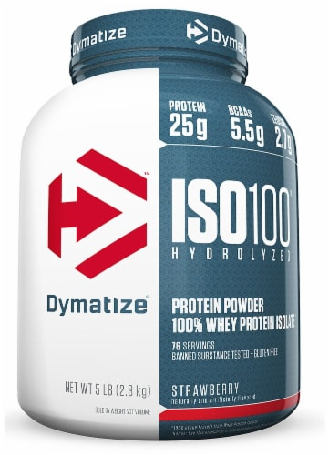 Dymatize  ISO100® Hydrolyzed 100% Whey Protein Isolate   Strawberry Perspective: front