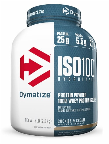 Dymatize ISO•100 Hydrolyzed Cookies & Cream Whey Protein Isolate Powder Perspective: front