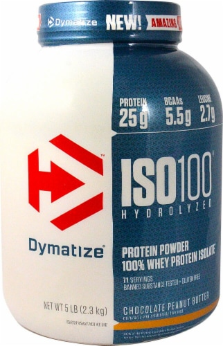 Dymatize  ISO100® Hydrolyzed 100% Whey Protein Isolate   Chocolate Peanut Butter Perspective: front