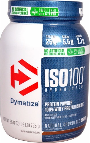 Dymatize  ISO100® Hydrolyzed 100% Whey Protein Isolate   Natural Chocolate Perspective: front