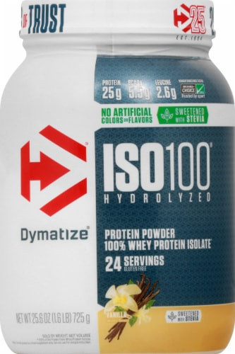 Dymatize ISO100 Hydrolyzed Natural Vanilla 100% Whey Protein Isolate Powder Perspective: front