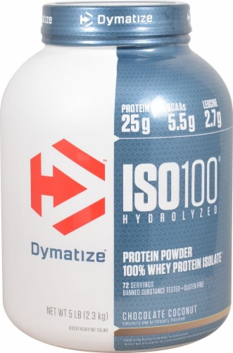 Dymatize  ISO•100® Hydrolyzed 100% Whey Protein Isolate   Chocolate Coconut Perspective: front