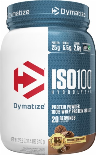 Dymatize® ISO100® Gourmet Chocolate Protein Powder Perspective: front