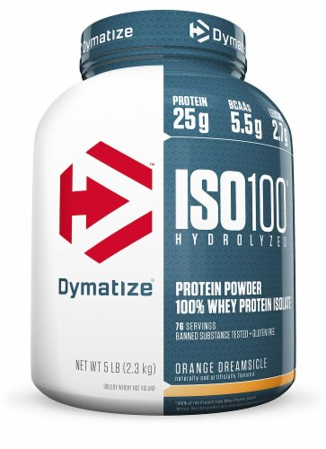 Dymatize  ISO•100® Hydrolyzed 100% Whey Protein Isolate   Orange Dreamsicle Perspective: front
