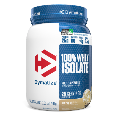 Dymatize 100% Whey Isolate Simple Vanilla Protein Powder Perspective: front