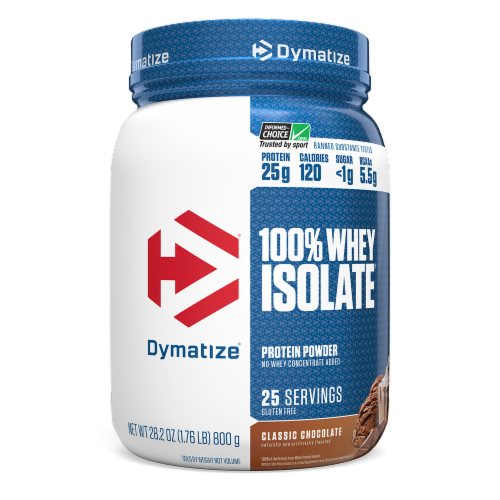 Dymatize 100% Whey Isolate Classic Chocolate Protein Powder Perspective: front