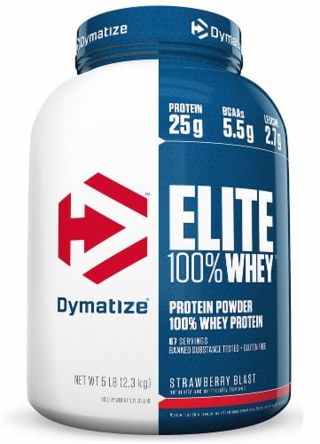 Dymatize Elite Strawberry Flavored 100% Whey Protein Powder Perspective: front