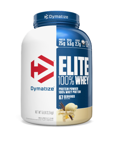 Dymatize Elite Gourmet Vanilla Flavored 100% Whey Protein Powder Perspective: front