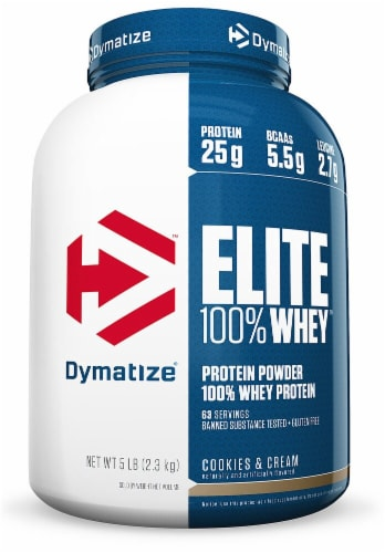 Dymatize Elite 100% Whey Protein - Cookies & Cream Perspective: front
