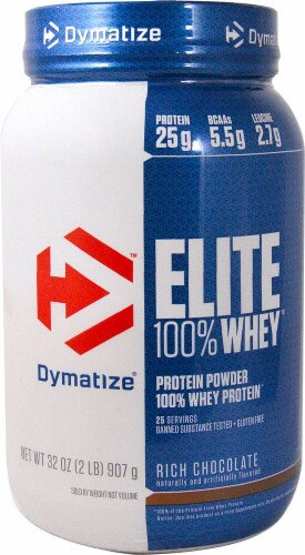 Dymatize Elite Rich Chocolate Flavored 100% Whey Protein Perspective: front