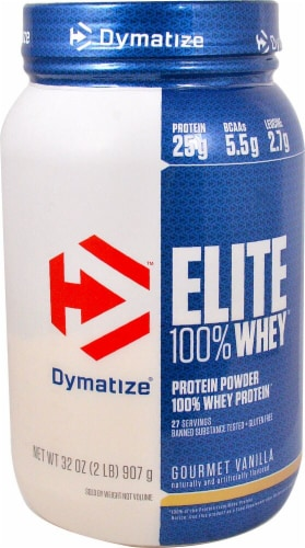Dymatize Elite Gourmet Vanilla Flavored 100% Whey Protein Perspective: front