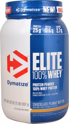 Dymatize Elite 100% Chocolate Peanut Butter Whey Protein Perspective: front