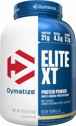 Dymatize Elite XT Rich Vanilla Protein Powder Multi-Source Protein Blend Perspective: front