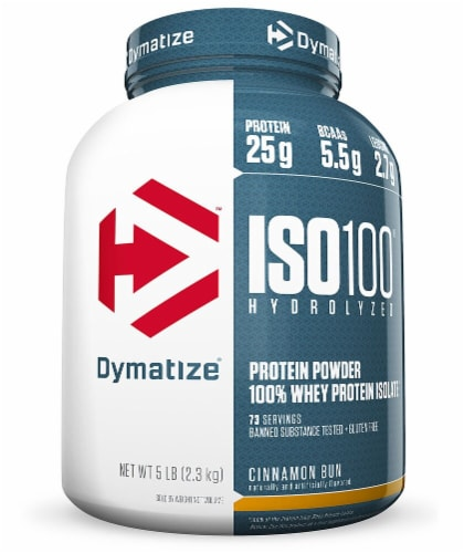 Dymatize ISO•100® Hydrolyzed 100% Whey Protein Isolate - Cinnamon Bun Perspective: front