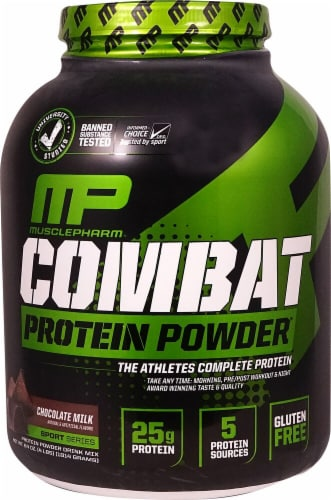 MusclePharm  Combat Protein Powder®   Chocolate Milk Perspective: front