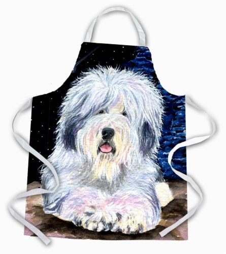 Carolines Treasures  SS8443APRON Starry Night Old English Sheepdog Apron Perspective: front