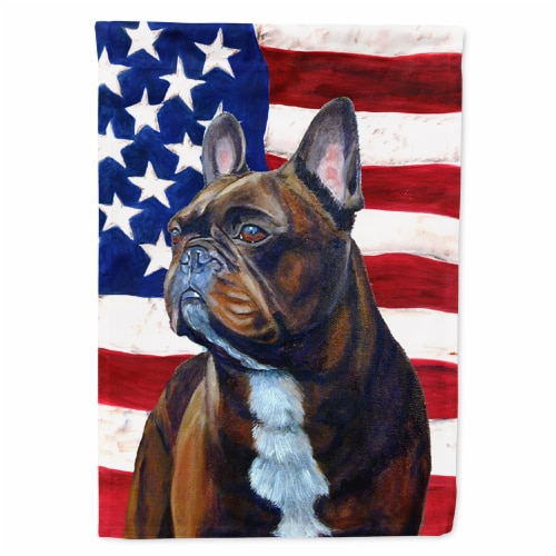 Carolines Treasures  LH9010GF USA American Flag with French Bulldog Flag Garden Perspective: front