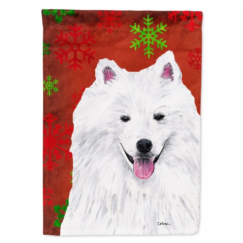 American Eskimo Red and Green Snowflakes Holiday Christmas Flag Perspective: front