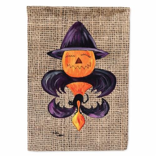 Carolines Treasures  8748CHF Halloween Pumpkin Bat Fleur de lis Flag Canvas Hous Perspective: front