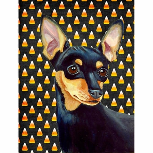Min Pin Candy Corn Halloween Portrait Flag Canvas House Size Perspective: front