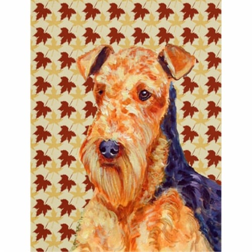 Carolines Treasures  LH9111CHF Airedale Fall Leaves Portrait Flag Canvas House S Perspective: front