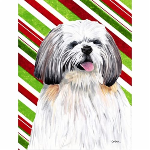 Shih Tzu Candy Cane Holiday Christmas Flag Canvas House Size Perspective: front