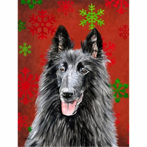 Belgian Sheepdog Red  Green Snowflakes Holiday Christmas Flag Canvas House Size Perspective: front