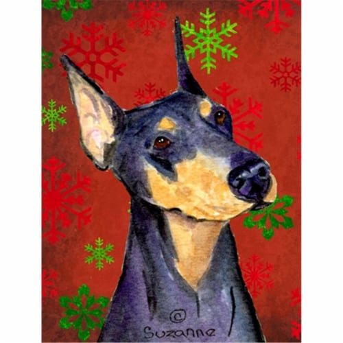 Doberman Red and Green Snowflakes Holiday Christmas Flag Canvas House Size Perspective: front