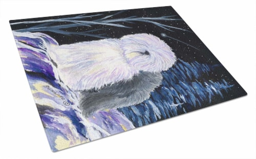 Carolines Treasures  SS8406LCB Starry Night Old English Sheepdog Glass Cutting B Perspective: front