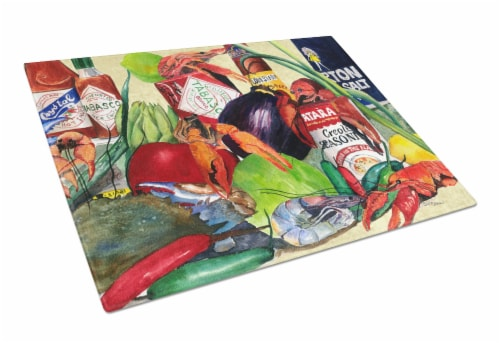 Carolines Treasures  1020LCB Spices and Crawfish Glass Cutting Board Large Perspective: front