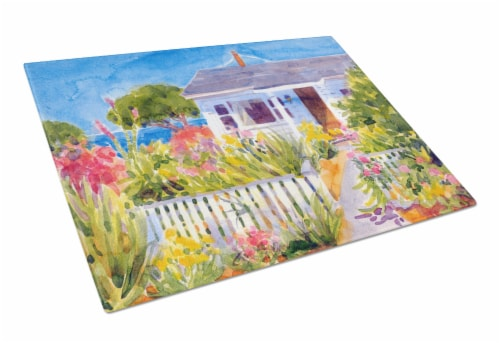 Carolines Treasures  6034LCB Seaside Beach Cottage  Glass Cutting Board Large Perspective: front