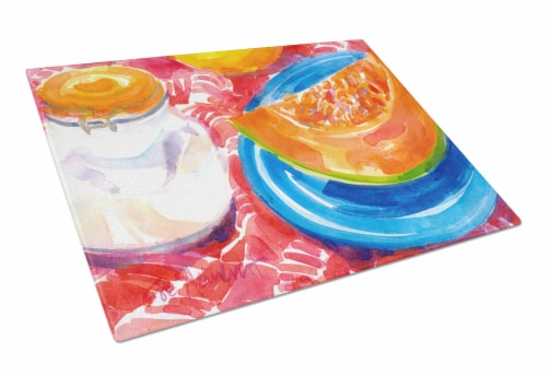 Carolines Treasures  6036LCB A Slice of Cantelope  Glass Cutting Board Large Perspective: front