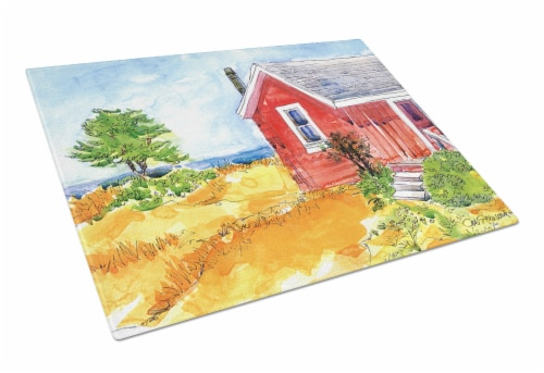 Old Red Cottage House at the lake or Beach Glass Cutting Board Large Perspective: front