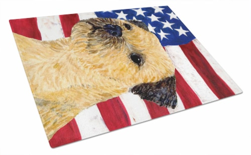 USA American Flag with Border Terrier Glass Cutting Board Large Perspective: front