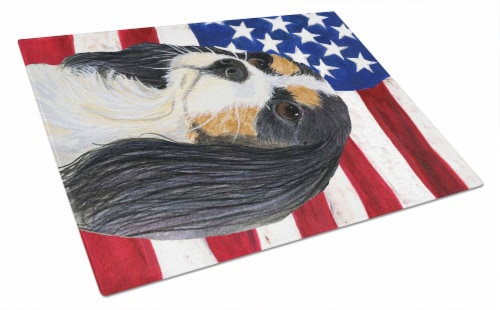 USA American Flag with Cavalier Spaniel Glass Cutting Board Large Perspective: front