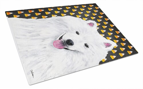 American Eskimo Candy Corn Halloween Portrait Glass Cutting Board Large Perspective: front