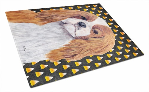 Cavalier Spaniel Blenheim Candy Corn Halloween Glass Cutting Board Large Perspective: front