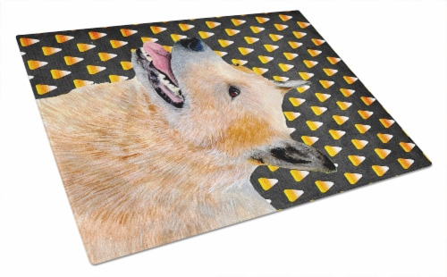 Australian Cattle Dog Candy Corn Halloween Portrait Glass Cutting Board Large Perspective: front