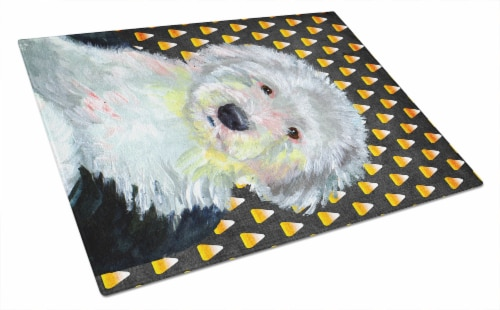 Old English Sheepdog Candy Corn Halloween Portrait Glass Cutting Board Large Perspective: front