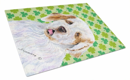 Clumber Spaniel St. Patrick's Day Shamrock Portrait Glass Cutting Board Large Perspective: front