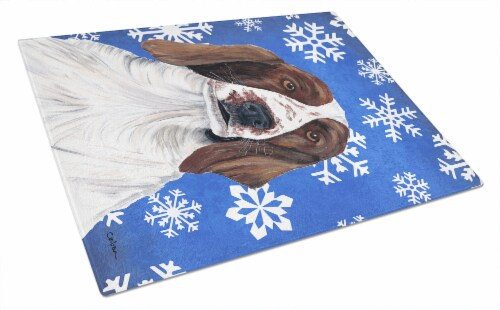 Welsh Springer Spaniel Winter Snowflakes Holiday Glass Cutting Board Large 12hx15w Kroger