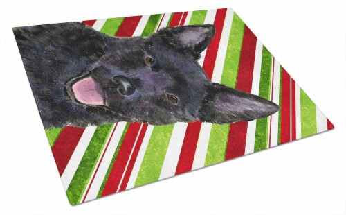 Australian Kelpie Candy Cane Holiday Christmas Glass Cutting Board Large Perspective: front